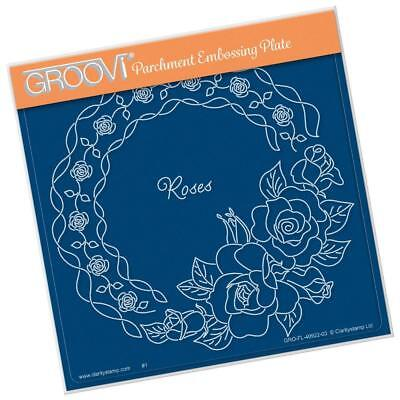 CLARITY STAMP GROOVI Parchment Embossing Plate LINDA'S ROSES & LACE GRO-FL-40922