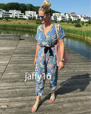 d17d4f40f00 ZARA NEW WOMAN Floral Bird Printed Jumpsuit With Tied Belt V-Neck Xs ...