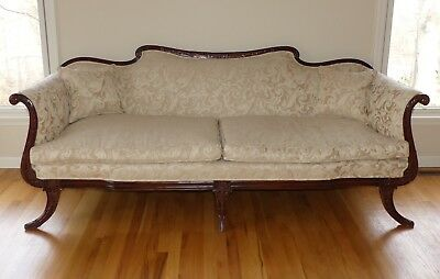 Antique Sofa Vintage Couch Golden Beige Jacquard Carved Mahogany Frame