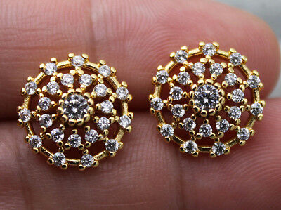 18K Yellow Gold Filled - Hollow Flower Topaz Gems Multilayer Circle Earrings