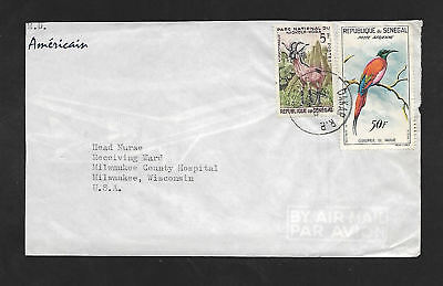 Senegal Airmail 1962 Cover To Milwaukee Hospital First Stamps From Sengal Repub