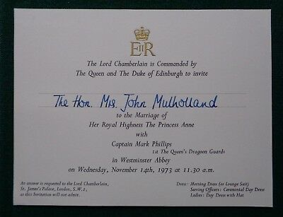 Royal Invitation from Queen Elizabeth II & Philip to Marriage Princess Anne 1973