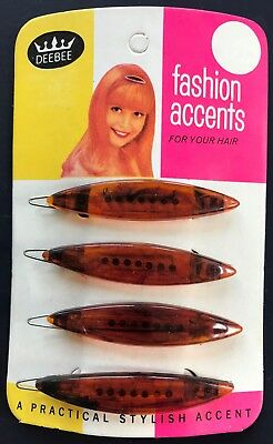 Vintage Hair Barrettes - 1950's Two Pairs of Tortoise Shell Color Oval Barrettes