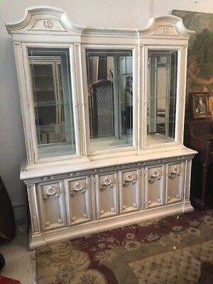 Vintage Cream Hand Painted Display Cabinet,Bookcase, French Antique Style