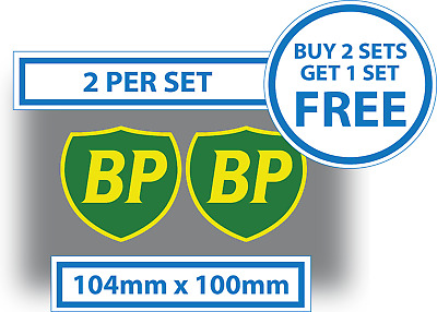 2 x BP Stickers 104mm x 100mm Oil Petrol Shield Decal Classic Racing Rally Car