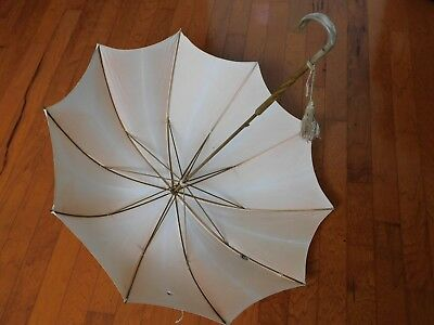 Vintage PK Parasol Umbrella With Carved Wood & Horn? Handle & Fly Embellishment