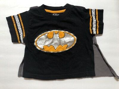 Batman  black 12 Months Short Sleeve Graphic T Shirt Detachable Cape