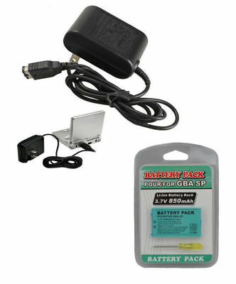 NEW Adapter AC Charger Wall Charger + 850 mAh Battery Game Boy Advance SP GBA SP