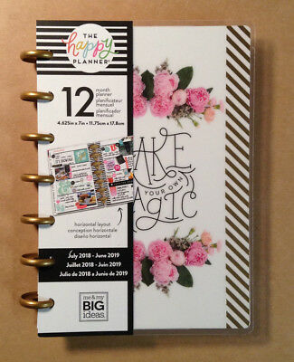 "NEW! 2018-2019 MINI Happy Planner ""MAGIC BLOOMS""  ""Make Your Own Magic"""