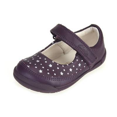 Clarks Girls Softly Ida Purple Leather First Shoes Size UK4.5F, 5F,6.5G