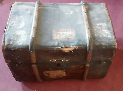 antique late Victorian/ early Edwardian    Wooden-Bound    TRAVEL TRUNK .