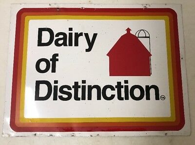 """""""Dairy of Distinction"""" Vintage Metal Farm Sign - 24""""x18"""" Double Sided Retro"""