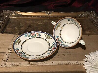 3 Antique Vintage Mintons Hand Painted Enameled Footed Bouillon Cup w/ Saucer