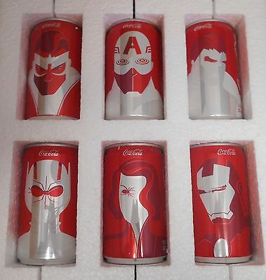 Mini Marvel Avengers Coca Cola 6 Pack Set Super Bowl Promo Limited Edition