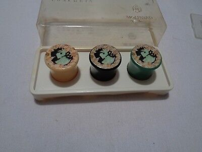 vintage RARE set 3 empty early plastic tiny sold perfume jars scotties on lids