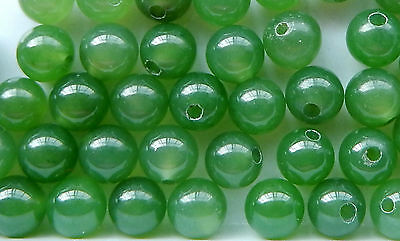 Nephrite Jade Beads  Half Drilled  4- 4.2 mm Round Polished Beads (10 Pieces)