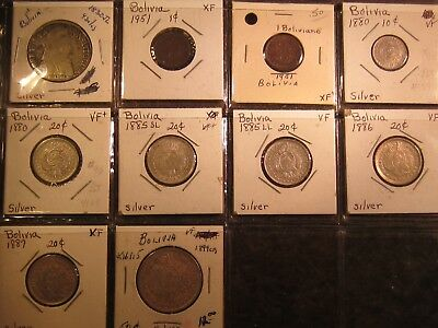 Bolivia Ten Coins (8 Silver all from the 1800's)
