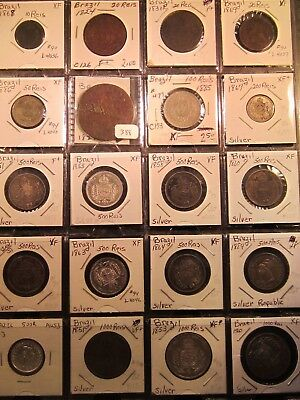 Brazil 42 Coins, including 16 Silver 1821 to 1975