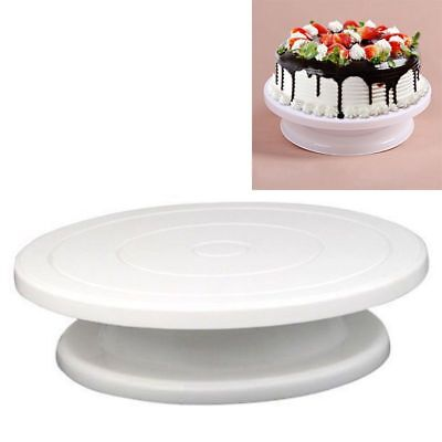 28cm Kitchen Cake Decorating Icing Rotating Turntable Cake Stand White Plas V4E4