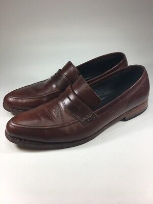 b985c44e931 NISOLO  188 CHAMBERLAIN Brown Leather Penny Loafers Mens Size 12 M ...