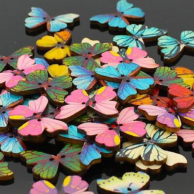Butterfly Design Decorative Wooden Buttons, 28mm - Packs of 5 - Craft / Sewing