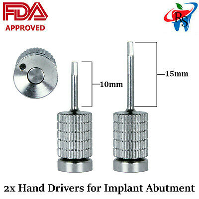2x Dental Implant Abutment Stainless Steel Screw Hand Driver 1.25mm FDA Approved