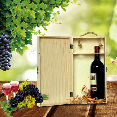 Retro Engraved  Wooden Wine Packaging Double Bottle Grape Bottle Wood Box Gift