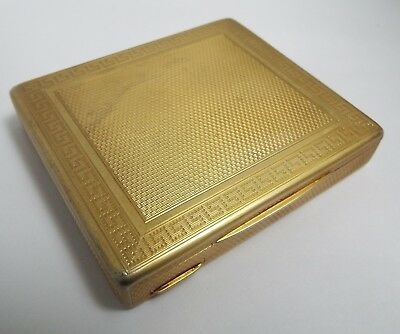 Superb Quality Heavy English Antique 1936 Solid Silver & Gilded Cigarette Box
