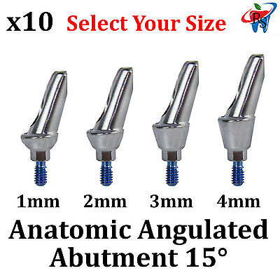 10x Dental Implant Anatomic Angulated 15  Abutment Internal Hex Size Selection