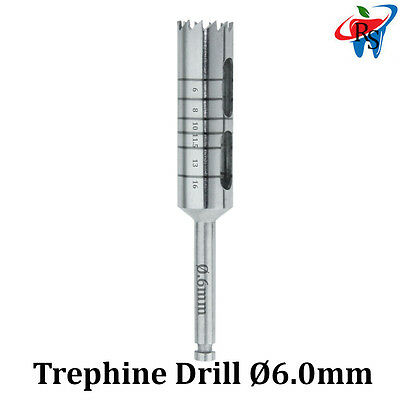 Dental Implant Trephine Drill Surgical Instrument Irrigation Bone Graft 6.0mm