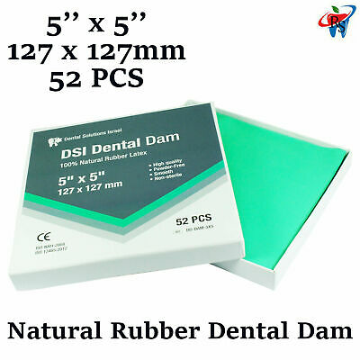 Dental Rubber Dam Sheet Natural Latex Dura Dam 52 Units 5*5 Inches Mint Flavor