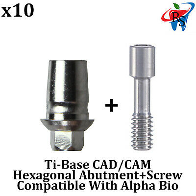 10x Dental Implant CAD/CAM Connection Ti-Base Int Hex Alpha Bio Compatible