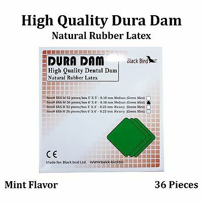Dental Rubber Dam Sheet Natural Latex Dura Dam 36 Units 6*6 Inches Mint Flavor