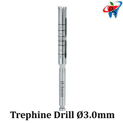 Dental Implant Trephine Drill Surgical Instrument Irrigation Bone Graft 3.0mm