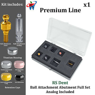 RS Dental Implant Kit Ball Attachment Silicone Inserts Analog Housing 2mm