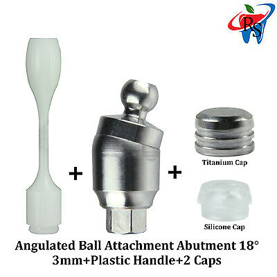 Dental Angulated Ball Attachment For Implant Abutment 18  3mm Height + 2 caps