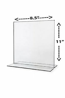 Stand Up Double Sided Sign Holder Plastic 8 1/2 in X 11 in Clear