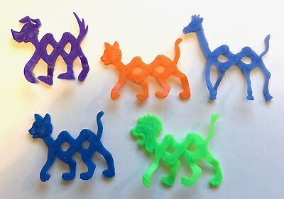Party Cereal Toys ~ Stretch Pets X 5 ~ R&l Knock-Offs Made In China ~ Lot B