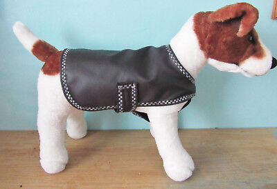 Small Black-Beige Lightweight Waterproof Dog Coats. Lined in cotton. Splashguard