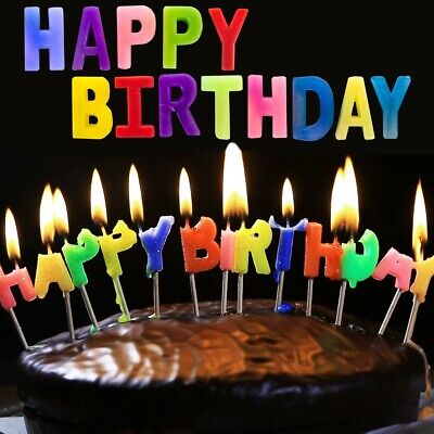 HAPPY BIRTHDAY CANDLE SET Colourful Party Letter Cake Decoration Topper Boy Girl