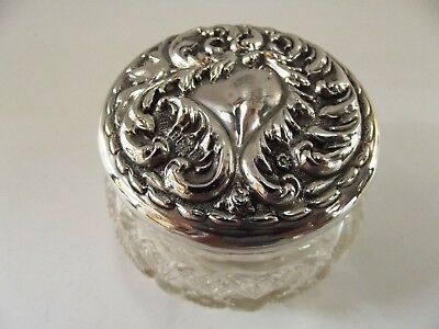 Antique Dressing Table Jar With Embossed Silver Lid Birmingham 1900 Ref 242/1