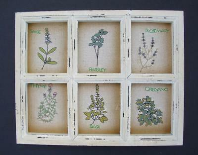 Herb Garden Stitchery Wood Window Frame Plaque Vintage Country Kitchen Herbs NEW
