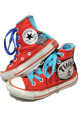 def519eab1ac Boys Converse White Red All Star High Tops Size 11 Shoes DR SUESS THING 1