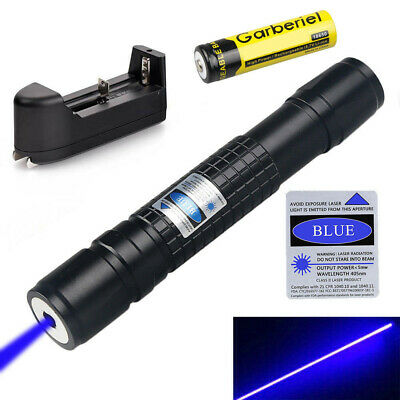 50Miles 405nm Blue Laser Pointer Lazer Pen Visible Beam Light+18650+Charger USA