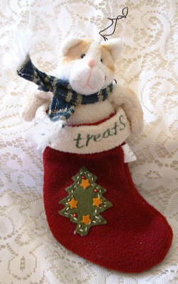 Folk Art Country Christmas  CAT Kitten in RED STOCKING  Tree Applique  ORNAMENT