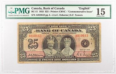 "1935 $25 Bank of Canada ""English"" Commemorative. PMG F15 CHOICE FINE BC-11"