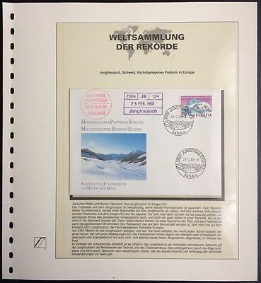 Switzerland 1988 FDC Highest situated post office Europas Weltsammlung Rekorde