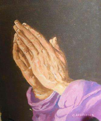 "Oil Painting Praying Hands 4 x 5"" Signed C Sessions"