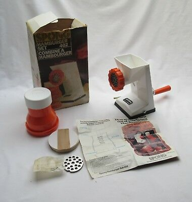 Vintage retro orange & white plastic Spong mincer hamburger maker set no 402