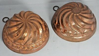 Pair of Vintage Swiss Birth Gramm Tin Lined Copper Moulds, Dessert Chocolate etc
